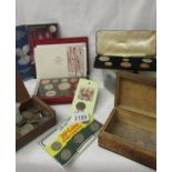 A mixed lot of coins including box of old pennies, proof sets, foreign coins etc.