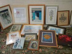14 framed pictures.