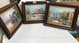 3 wood framed oil on canvas pictures,