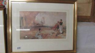 A framed and glazed Russell Flint print, 64 x 52 cm.