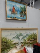 Two painting of Chinese scenes.