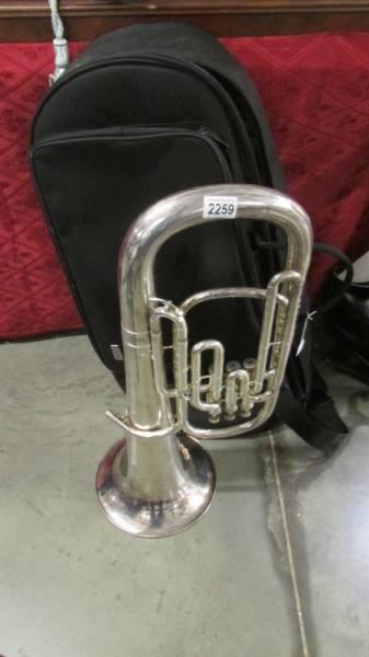 A silver plate euphonium (BVS Senora) in case.