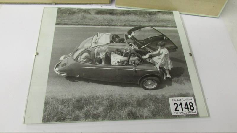 Two framed period advertisements for Messerschmitt KR200 fron the Autocar 1958 and a black and - Image 2 of 4
