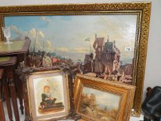 A large framed nautical scene and 2 other pictures.
