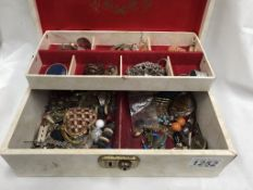 A jewellery box & contents & a box of costume jewellery