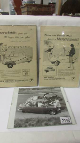 Two framed period advertisements for Messerschmitt KR200 fron the Autocar 1958 and a black and