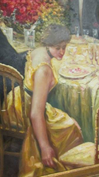 A superb gilt framed oil on canvas depicting a Russian dinner party, - Image 7 of 12
