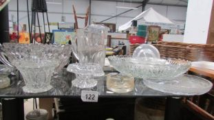 A selection of cut glass punch bowls & advertising jug
