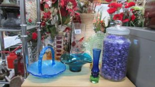 A mixed lot of coloured glass.