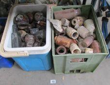 2 boxes of stoneware/Bovril bottles