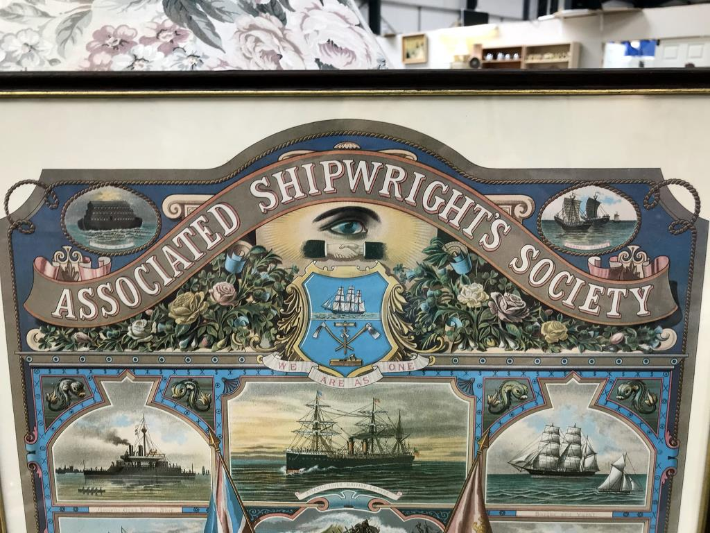 A framed & glazed reproduction associated Shipwrights Society certification 1891 picture - Image 4 of 7
