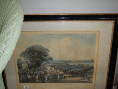 A framed and glazed military scene print.