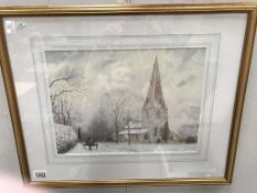 A watercolour of Frampton church in the snow, signed Voit .