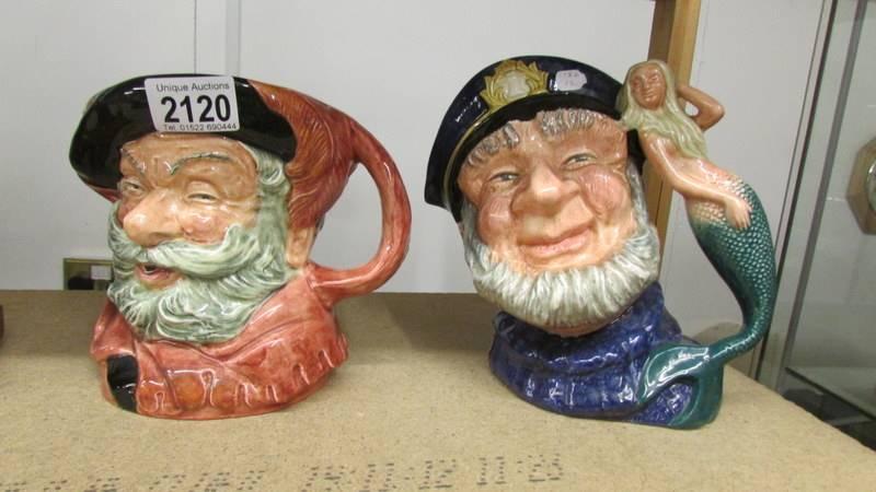 2 Royal Doulton character jugs - Old Salt D6551 and Falstaff D6287.
