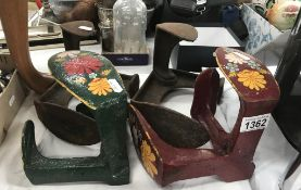 4 shoe lasts including 2 painted examples