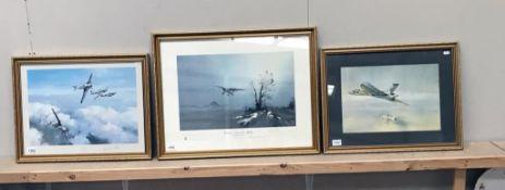3 RAF related prints including Westland Lysander by Dennis Pannett & Odette Hallowes,