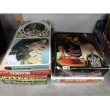 A quantity of vintage board games including Madame Planchette horoscope game etc.