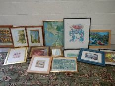 14 framed assorted pictures.