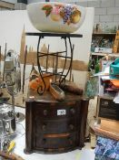 A mixed lot including small 3 drawer chest, bowl, metal stand etc.
