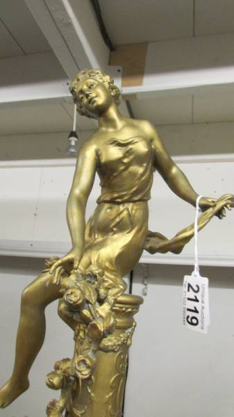 A gilded 19th century figure signed Chievy. - Image 2 of 3