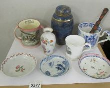 A mixed lot of early ceramics including Ginger Jar, Loving cup a/f, tankard a/f,