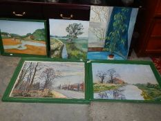 Five old watercolours.