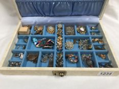 A jewellery box and mixed lot of costume jewellery including pearl necklace, earrings, brooches etc.