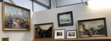 2 gilt framed prints of Lincoln including High Street & Cathedral by Callon 1853,