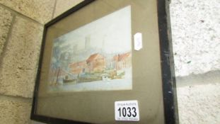 A late 19th century British school watercolour - Lincoln 'The Brayford' with boats,