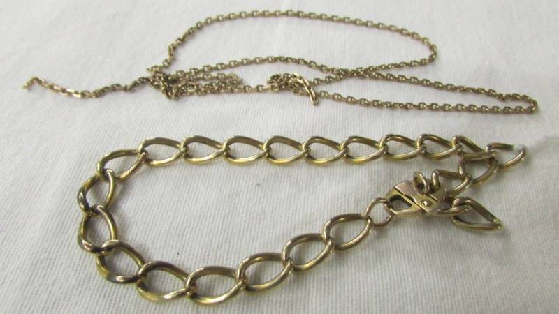 A 9ct gold bracelet and a fine linked gold chain, a/f. 12 grams. - Image 2 of 2