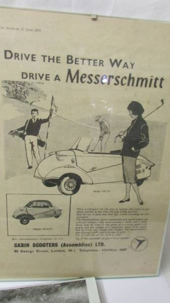 Two framed period advertisements for Messerschmitt KR200 fron the Autocar 1958 and a black and - Image 4 of 4