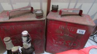 2 Esso vintage cans with brass caps & others