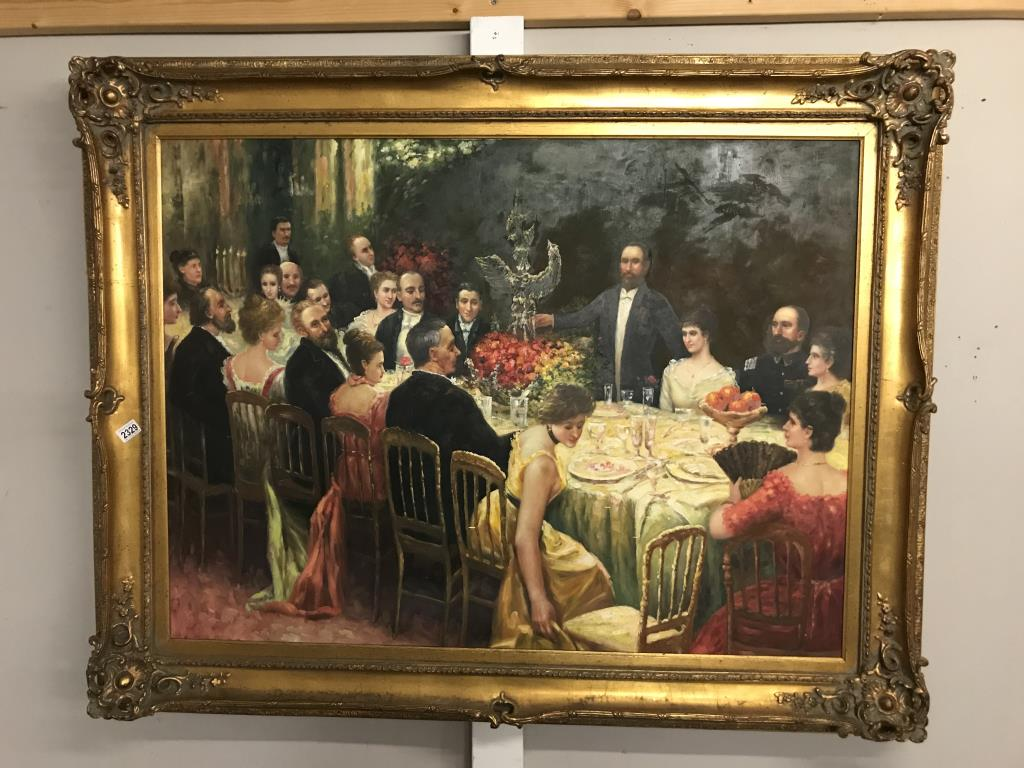 A superb gilt framed oil on canvas depicting a Russian dinner party, - Image 2 of 12
