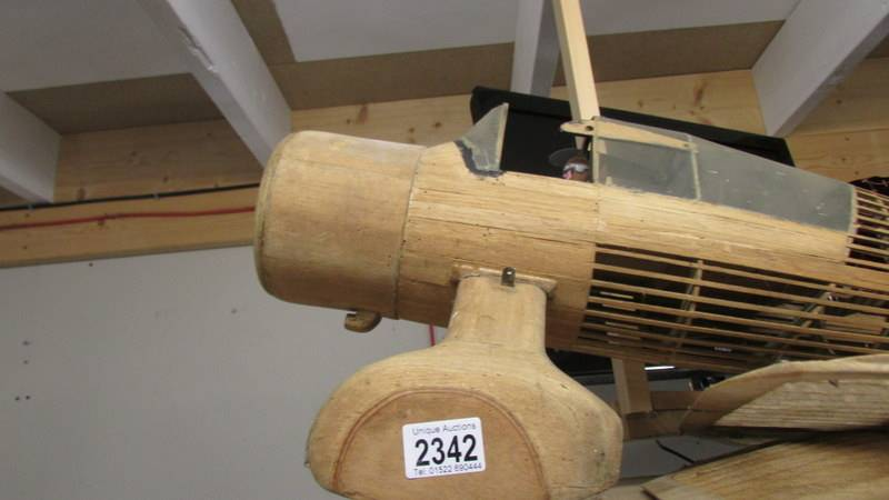 A part built model aircraft in wood (Westland Lysander). - Image 2 of 4