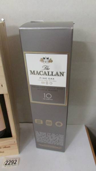 A boxed Macallan fine oak triple cash matured 10 year old whisky and 2 bottles of Chateau Bordeau. - Image 3 of 3