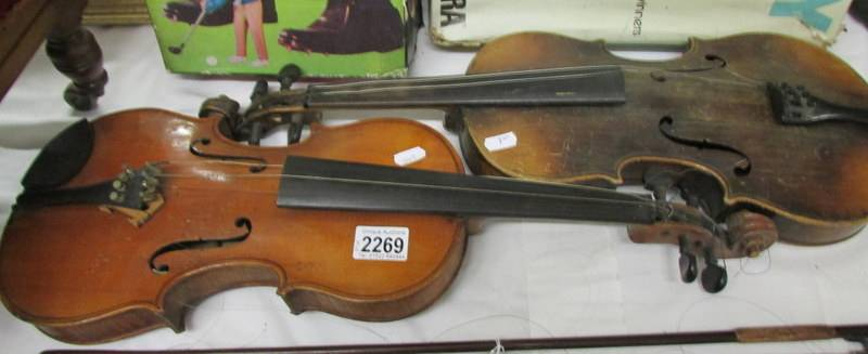 Two old violins, a/f.