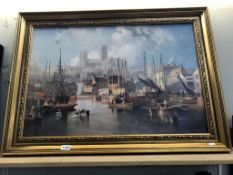 A large gilt framed print of early Brayford & Lincoln Cathedral (91cm x 66cm)