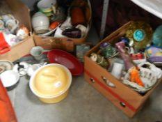 Three boxes of assorted ceramics.