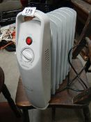 A small electric radiator.