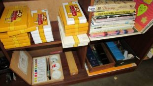A quantity of art books, water colours, oils and soft pastels (10 boxes unopened).
