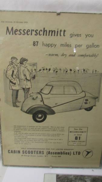 Two framed period advertisements for Messerschmitt KR200 fron the Autocar 1958 and a black and - Image 3 of 4
