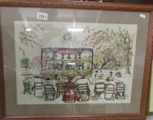 A framed and glazed embroidery depicting a Victorian band stand scene.