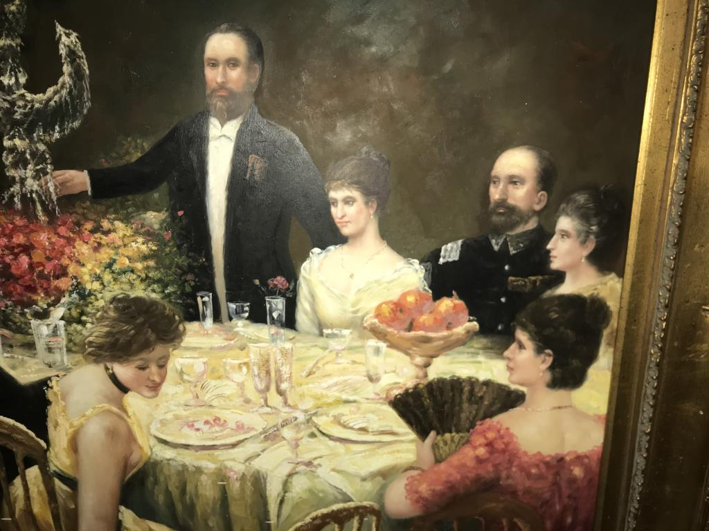 A superb gilt framed oil on canvas depicting a Russian dinner party, - Image 12 of 12