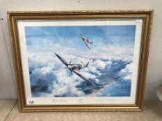 A framed & glazed Taylor print signed Robert Taylor & Johnnie Johnson