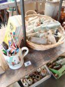 A wicker basket of potion bottles,