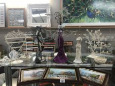 A good selection of ornate metal jewellery display stands
