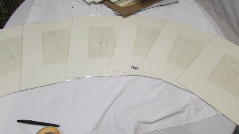 Eric Gill (1882-1940) Collection of 6 female nude life drawings prints/plates published by Hague &