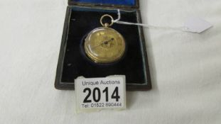 An 18ct gold pocket watch, R Mears, 50 Strand, London, glass loose and missing key.