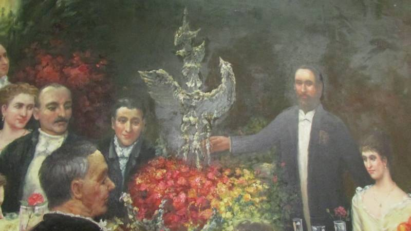 A superb gilt framed oil on canvas depicting a Russian dinner party, - Image 4 of 12