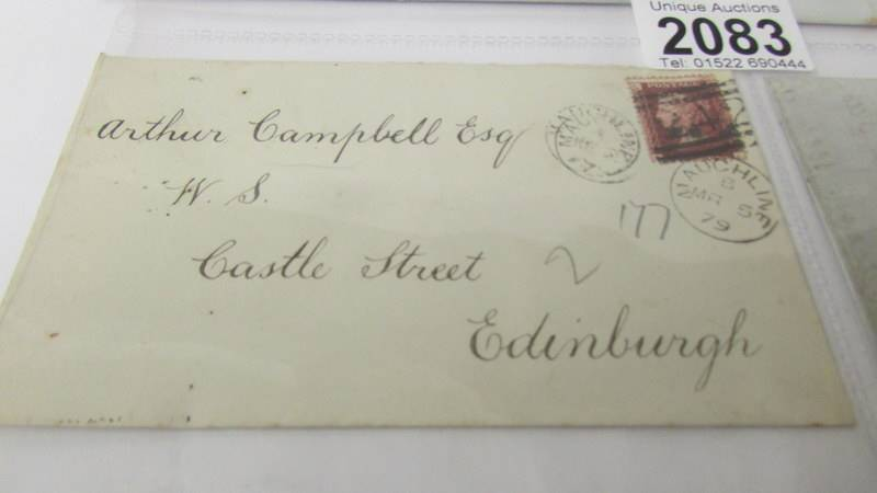 4 19th century letters - with stamps dated 1877/1879 and 2 without stamps dated 1843 and 1847. - Image 5 of 7